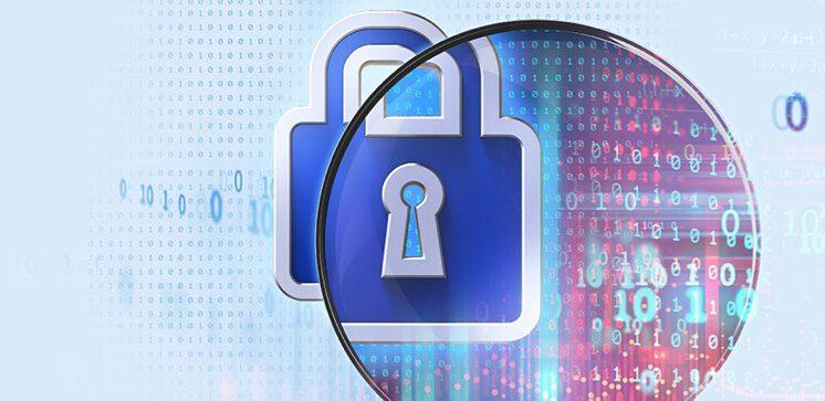 illustration of padlock and binary data